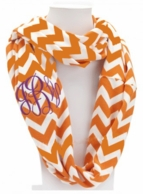 Orange Chevron Monogrammed Infinity Loop Scarf