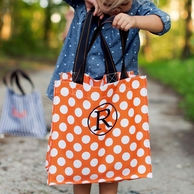 Orange Dot Monogrammed Halloween Tote