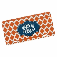 Orange & Navy Tangier Monogrammed Car Tag