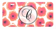 Orange Poppies Monogrammed Car Tag