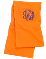 Orange Solid Monogrammed Infinity Scarf