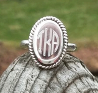 Oval Monogrammed Braided Edge Sterling Silver Ring