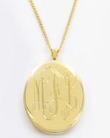 Oval Monogrammed Gold Locket Necklace