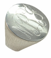 Oval Monogrammed Sterling Silver Signet Ring