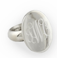 Oval Sterling Silver Monogrammed Ring
