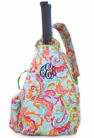 Paisley Breeze Bright Monogram Quilted Sling Style Tennis Backpack