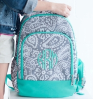 Parker Paisley Monogrammed School Backpack