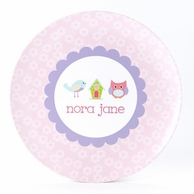 Patchwork Birdie Line Up Personalized Kids Plate / Bowl