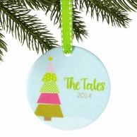 Patchwork Christmas Tree Personalized Ornament