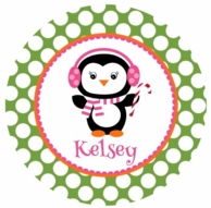 Penguin Playdate Personalized Kids Plate