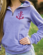 Periwinkle Monogrammed Fitted Quarter Zip Sweatshirt