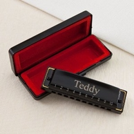 Personalized Black Hohner Harmonica