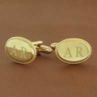 Personalized Braid Edge 2 Initial Cuff Links - Gold Or Silver