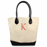 Personalized Canvas Tote Bag with Genuine Leather Straps