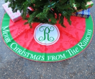 Personalized Damask Family Name Christmas Tree Skirt