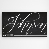 Personalized Family Chalkboard Canvas Name Sign