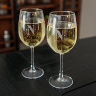 Personalized INITIAL White Wine Glasses - SET OF 4