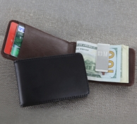 Personalized Leather Folding Case with Money Clip
