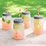 Personalized Mason Jars with Lids & Decorative Straws