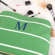 Personalized Striped Zipper Top Cosmetic Bag
