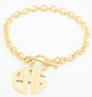 Personalized Toggle Bracelet with Round Monogram Charm - GOLD OR SILVER!
