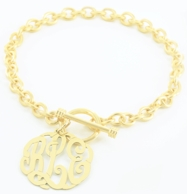 Personalized Toggle Bracelet with Script Monogram Charm - GOLD OR SILVER