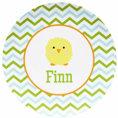 Personalized Zig Zag Chickee Boy Plate