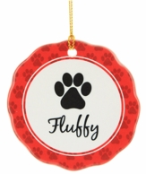 Pet Paw Personalized Pet Name Christmas Ornament