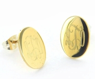 Petite Goldtone Monogram Oval Earrings