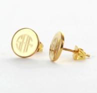 Petite Goldtone Monogram Round Stud Earrings
