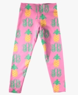 Pineapple Dreams Monogrammed Girls Leggings