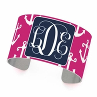 Pink Anchors Monogrammed Cuff Bracelet