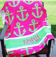 Pink Anchors Personalized Beach Towel