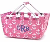 Pink Anchors Personalized LARGE Market Basket Tote