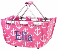 Pink Anchors Personalized Mini Market Basket