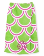 Pink and Green Harbor BAE Monogrammed Spa Wrap