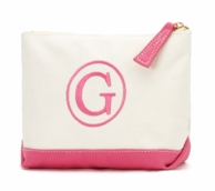 Pink Canvas Monogrammed Cosmetic Bag