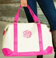 Pink Canvas Sullivan Monogrammed Weekender Bag