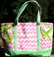 Pink Chevron Anchor Hand Painted Francesca Joy Large Tote