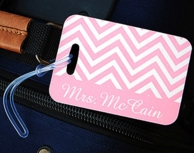 Pink Chevron Mrs Luggage Tag