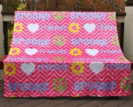 Pink Chevron Peace Love Personalized Throw Blanket