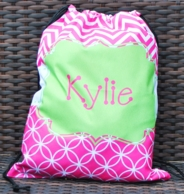 Pink Chevron Personalized Drawstring Backpack