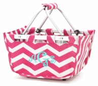 Pink Chevron Personalized Mini Market Basket Tote