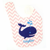 Pink Chevron Whale Personalized Bib