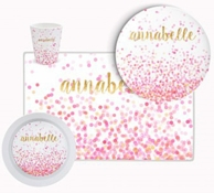 Pink Confetti Personalized Tableware Set