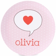 Pink Dots Heart Personalized Kids Plate / Bowl