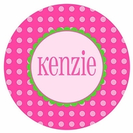 Pink Dots Personalized Kids Plate
