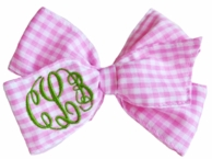 Pink Gingham Monogrammed Hair Bow / Cheer Bow