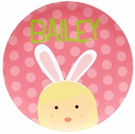 Pink Girl Bunny Ears Personalized Kids Plate
