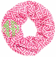 Pink Greek Key Monogrammed Infinity Loop Scarf
